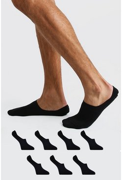 Black 7 Pack Invisi Liner Socks