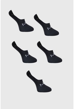 Black 5 Pack MAN Invisi Liner Socks