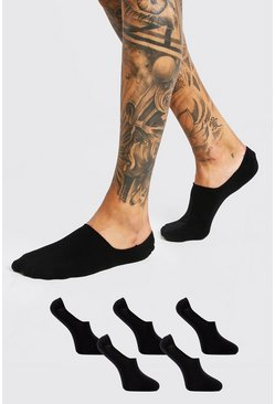 Black 5 Pack Plain Invisi Liner Socks