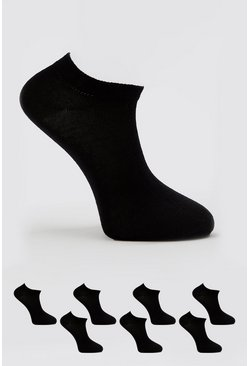 Black Trainer Liner 7 Pack Socks