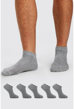 Grey marl grey Sneakers Liner 5 Pack Socks