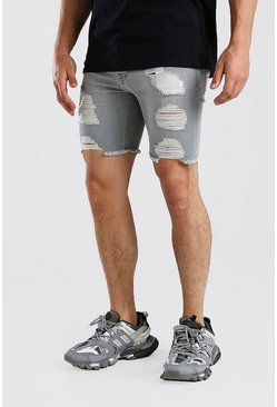 Charcoal grå Super Skinny Denim Shorts With All Over Rips
