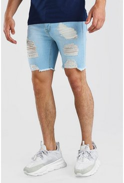Ice blue Super Skinny All Over Rip Denim Shorts