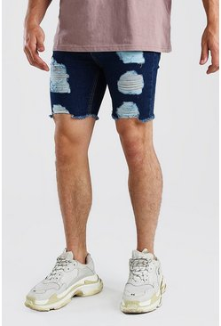 Washed blue blue  Super Skinny All Over Rip Denim Shorts