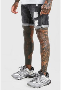 Charcoal Skinny Fit Denim Short With Abrasions