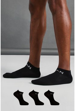 Black MAN Active 3 Pack Ankle Socks
