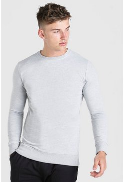 Grey Basic Crew Neck Sweatshirt