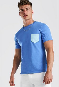 Cornflower blue Basic T-Shirt with Contrast Pocket