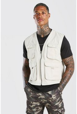 Stone beige 4 Pocket Cotton Utility Vest