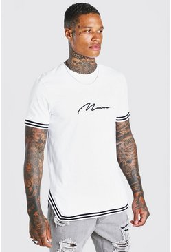 White MAN Signature T-Shirt With Tape Detail