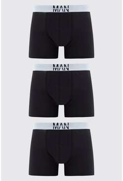 Black Large MAN Dash 3PK Boxer With Contrast Waistband