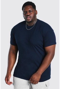 Navy Plus Size Basic Crew Neck T-Shirt