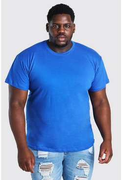 Blue Plus Size Basic Crew Neck T-Shirt