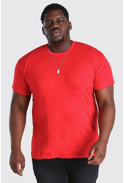 Red Plus Size Basic Crew Neck T-Shirt