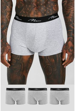 Grey marl grey MAN Script 3PK Boxer With Contrast Waistband