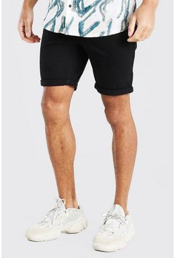 Black svart Jeansshorts i slim fit