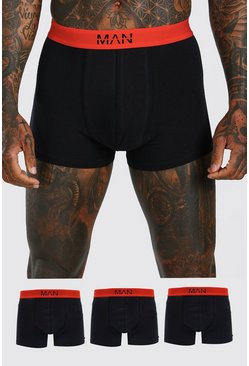 Black MAN Dash 3PK Boxer With Contrast Waistband