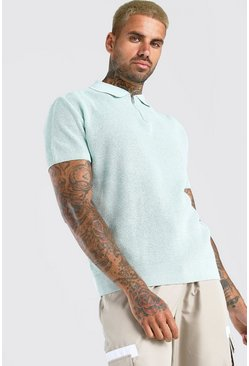 Mint green Short Sleeve Knitted Half Zip Polo with Tipping