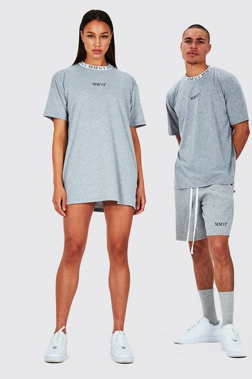 Grey Hers Oversized T-Shirt Dress With Rib Neckline