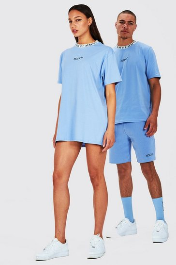 Blue Hers Oversized T-Shirt Dress With Rib Neckline