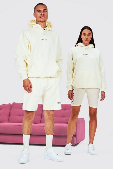 Stone beige His Oversized Hooded Short Tracksuit