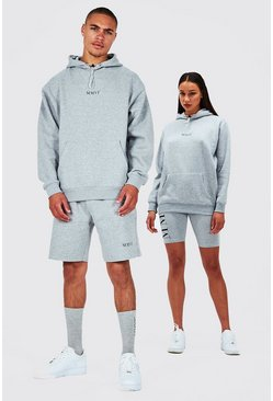 Grey His Oversized Hooded Short Tracksuit
