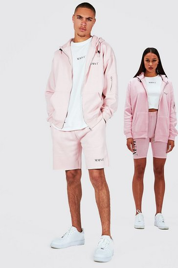 Pink His Oversized Zip Hoodie Tank And Short Set