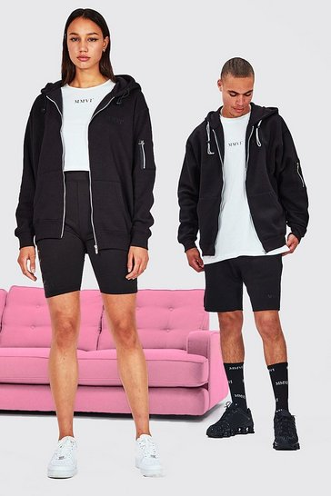 Black Hers Oversized Zip Hoodie Crop Top & Cycling Short
