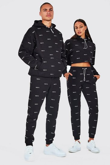 Black His All Over Print Hooded Oversized Tracksuit