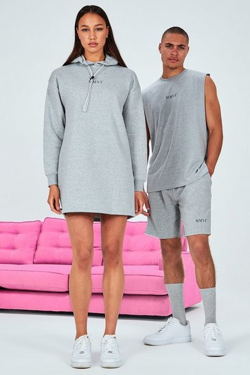 Grey Hers Back Print Oversized Hooded Dress