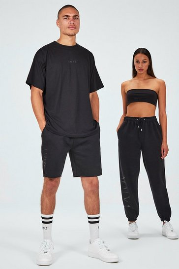 Black His Printed Oversized Raw Hem T-Shirt & Short Set