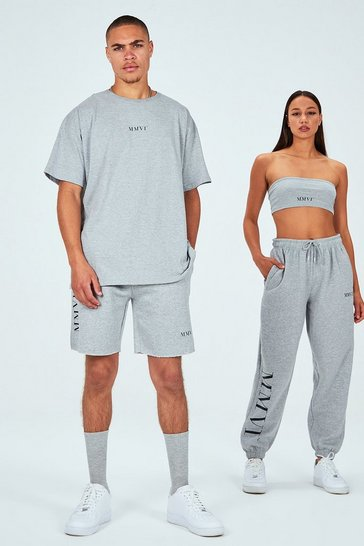 Grey His Printed Oversized Raw Hem T-Shirt & Short Set