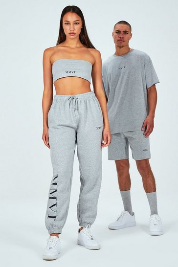 Grey Hers Spliced Print Bandeau & Jogger Set