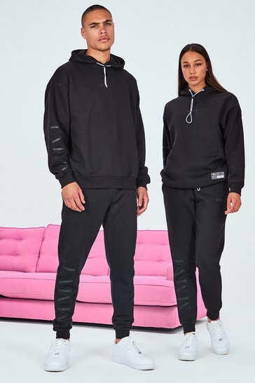 Black His Oversized Tracksuit With Elastic Drawcord & Tab
