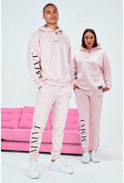 Pink His Oversized Tracksuit With Elastic Drawcord & Tab