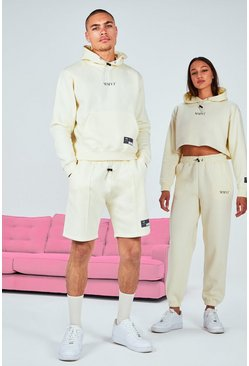 Stone beige His Printed Cropped Short Tracksuit With Drawcord