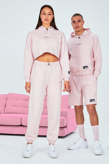 Pink Hers Printed Cropped Hoodie & Jogger With Drawcord