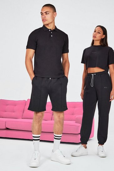 Black His Pique Embroidered Polo & Pintuck Short Set