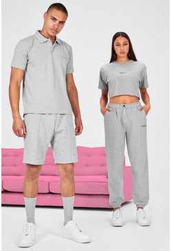 Grey His Pique Embroidered Polo & Pintuck Short Set