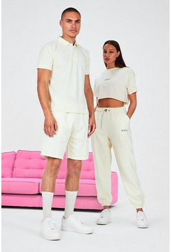 Stone beige His Pique Embroidered Polo & Pintuck Short Set