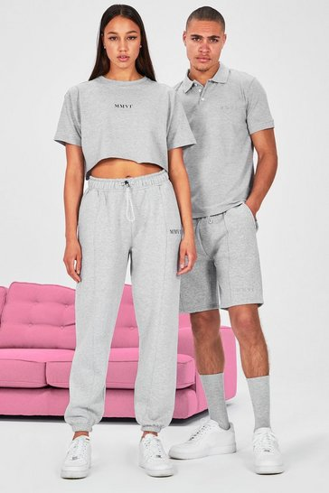 Grey Hers Cropped T-Shirt & Pintuck Jogger Set