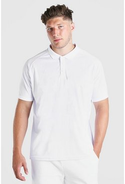 Big And Tall Polo in raglan elasticizzato, Bianco