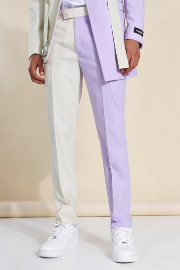 Lilac purple Skinny Cb Belted Suit Trousers