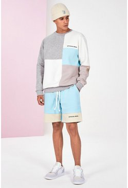Blue Colour Block Tracksuit With Short