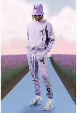Lilac Butterfly Text Tracksuit