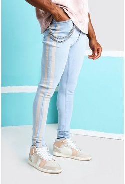 Ice blue Super Skinny Printed Stripe Jean