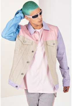 Chaqueta en denim con bloque de colores, Rosa