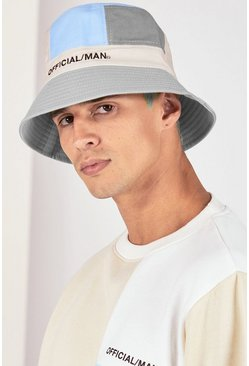 Grey Colour Block Bucket Hat
