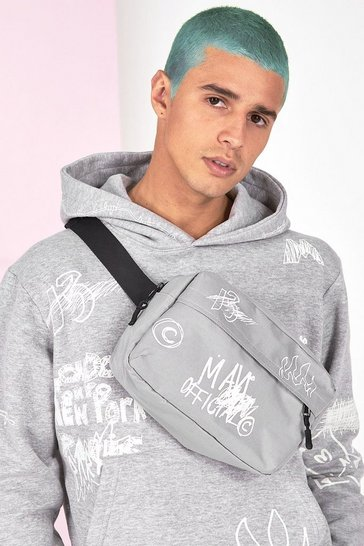 Grey marl grey Graffiti Bag