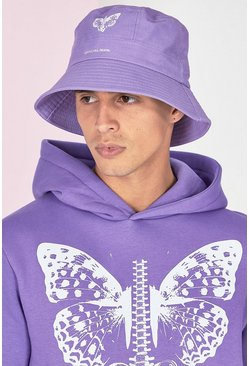 Lilac purple Butterfly Print Bucket Hat